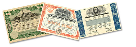 stock certificate collage